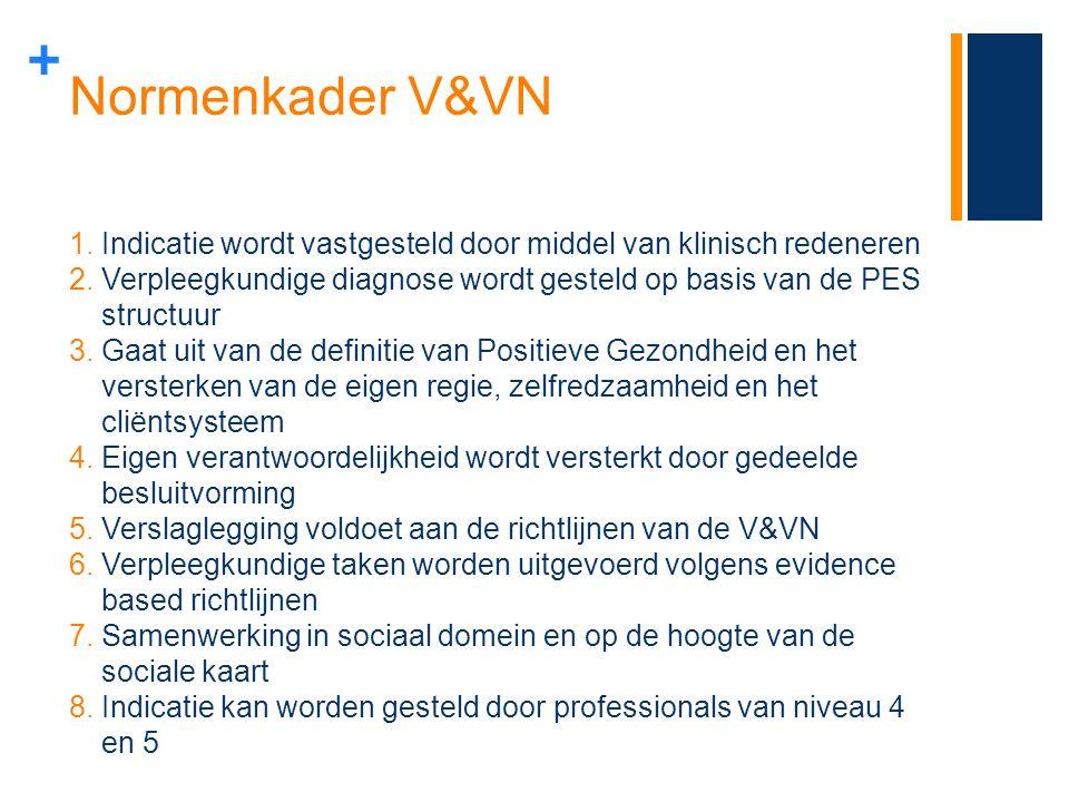 Normenkader V&VN Indicatie wordt vastgesteld door middel van klinisch redeneren.