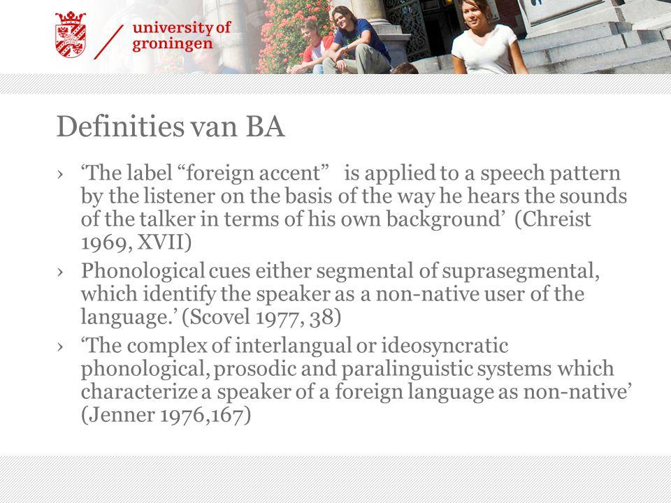 Definities van BA
