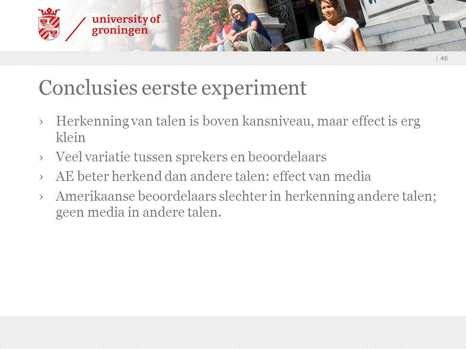 Conclusies eerste experiment