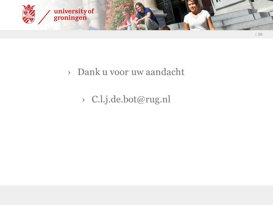 Dank u voor uw aandacht C.l.j.de.bot@rug.nl