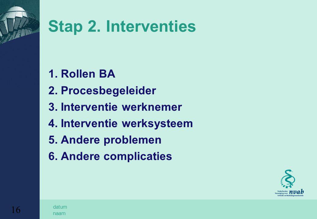 Stap 2. Interventies 1. Rollen BA 2. Procesbegeleider