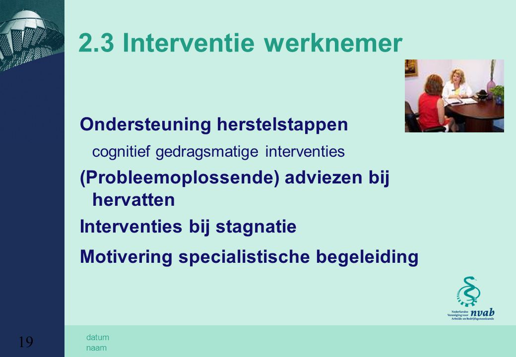 2.3 Interventie werknemer