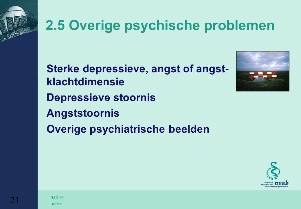 2.5 Overige psychische problemen