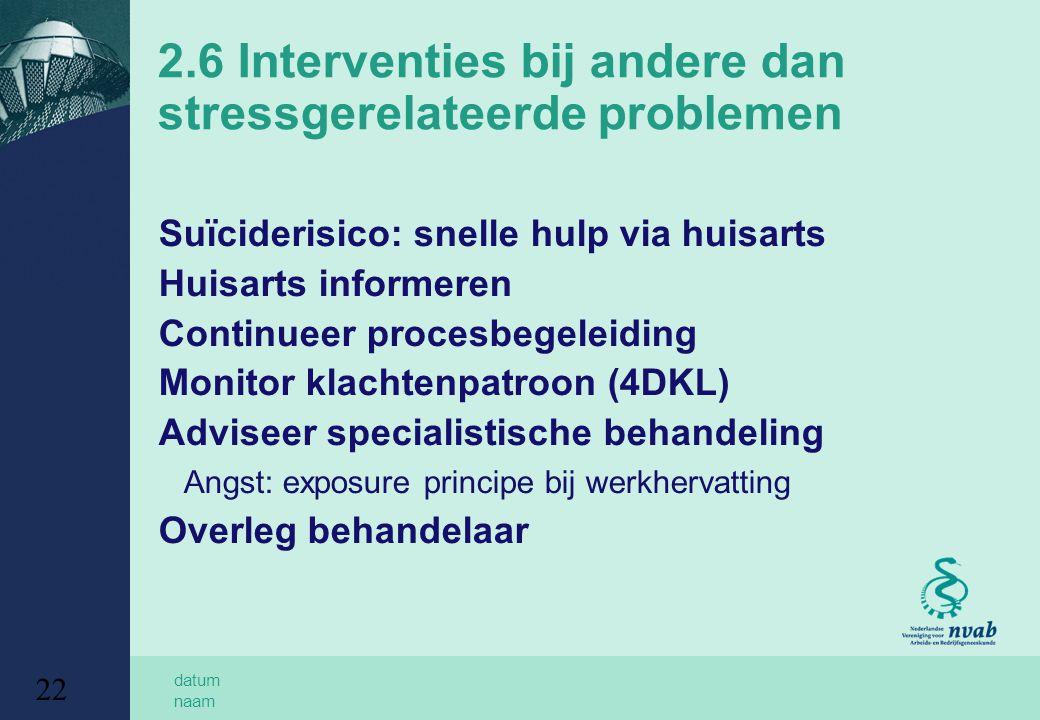 2.6 Interventies bij andere dan stressgerelateerde problemen