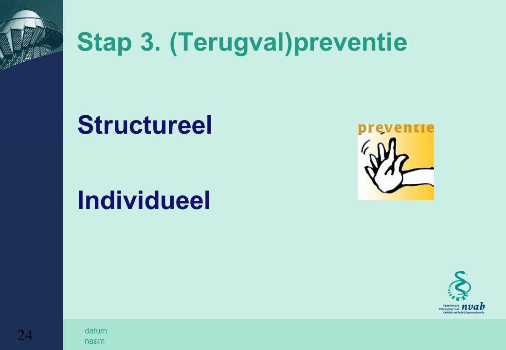 Stap 3. (Terugval)preventie