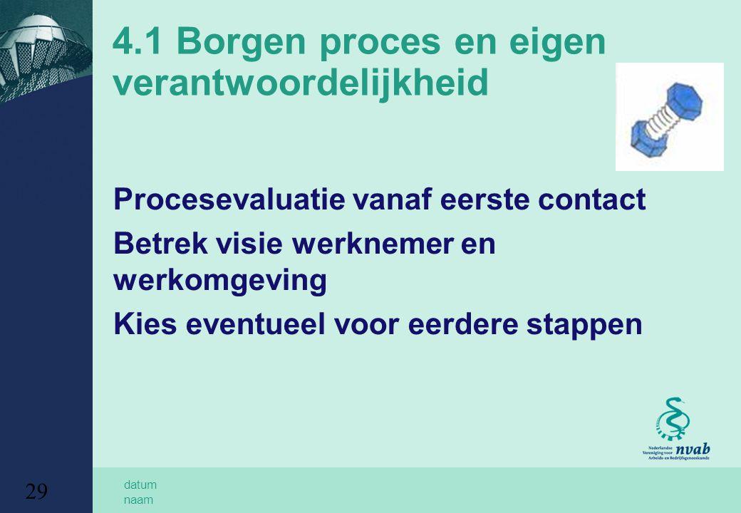 4.1 Borgen proces en eigen verantwoordelijkheid