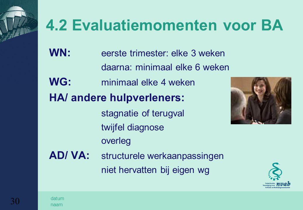 4.2 Evaluatiemomenten voor BA