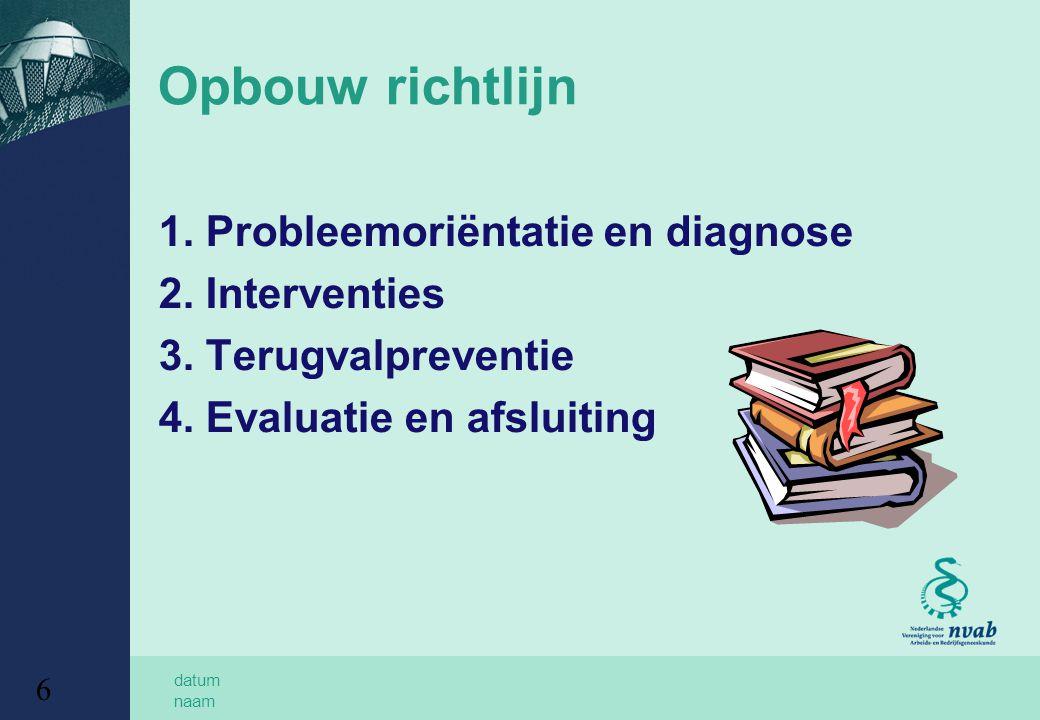 Opbouw richtlijn 1. Probleemoriëntatie en diagnose 2. Interventies