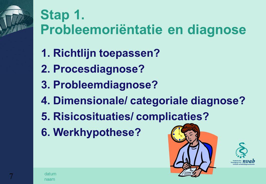 Stap 1. Probleemoriëntatie en diagnose