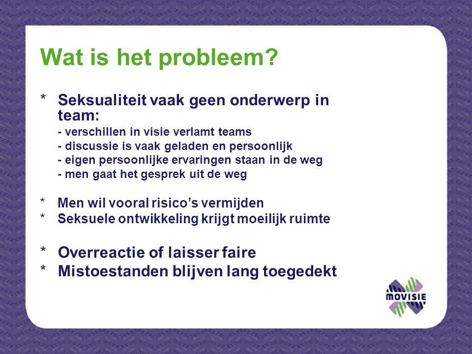 Wat is het probleem Seksualiteit vaak geen onderwerp in team: