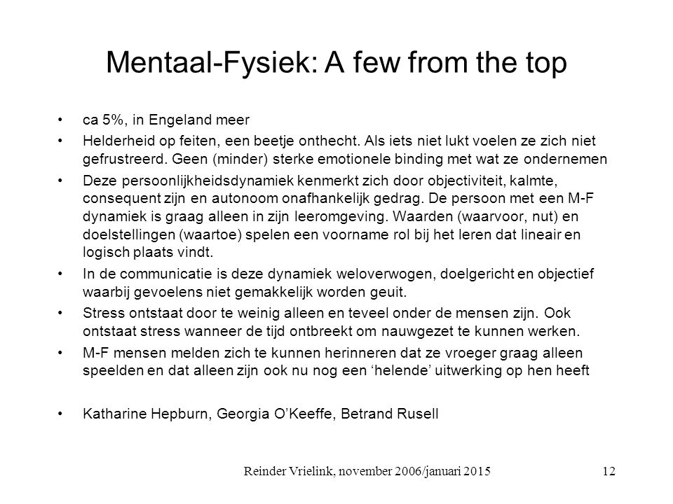 Mentaal-Fysiek: A few from the top