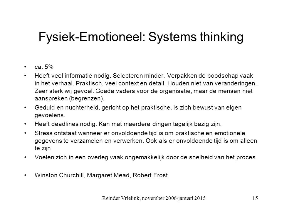 Fysiek-Emotioneel: Systems thinking