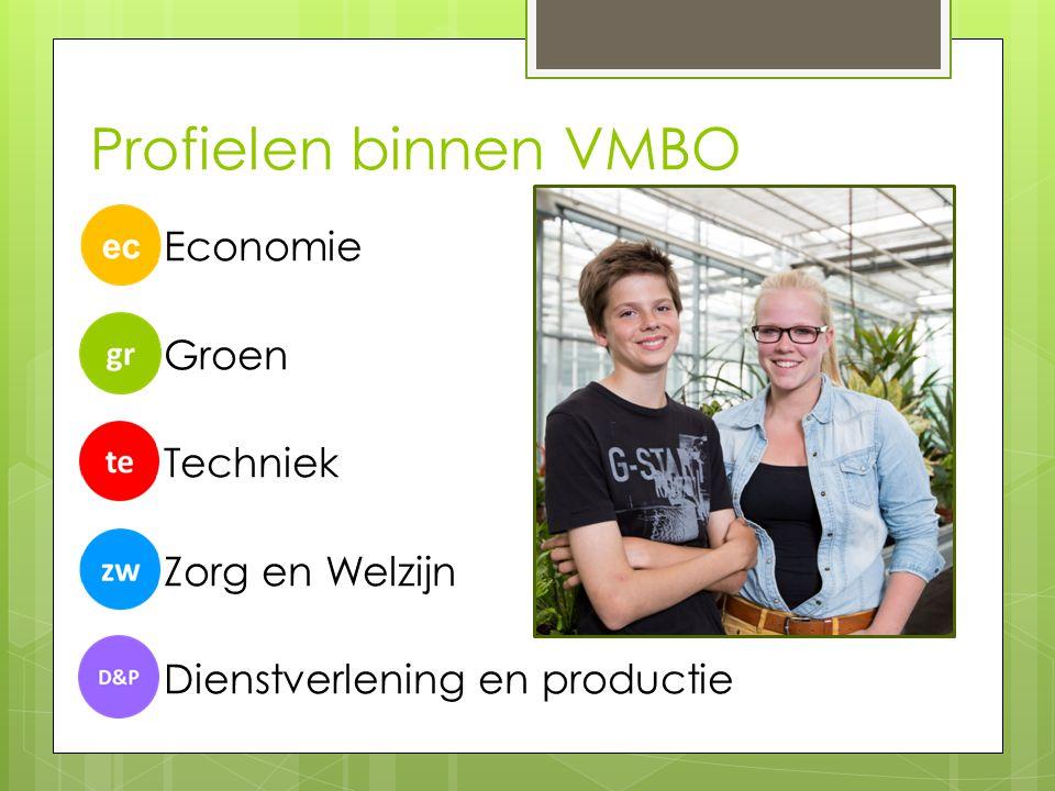 Profielen binnen VMBO Economie Groen Techniek Zorg en Welzijn