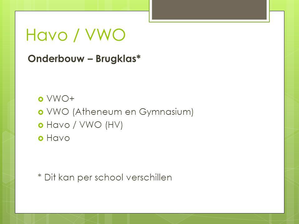 Havo / VWO Onderbouw – Brugklas* VWO+ VWO (Atheneum en Gymnasium)