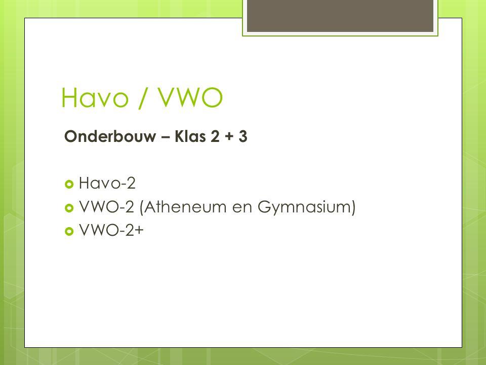 Havo / VWO Onderbouw – Klas 2 + 3 Havo-2 VWO-2 (Atheneum en Gymnasium)