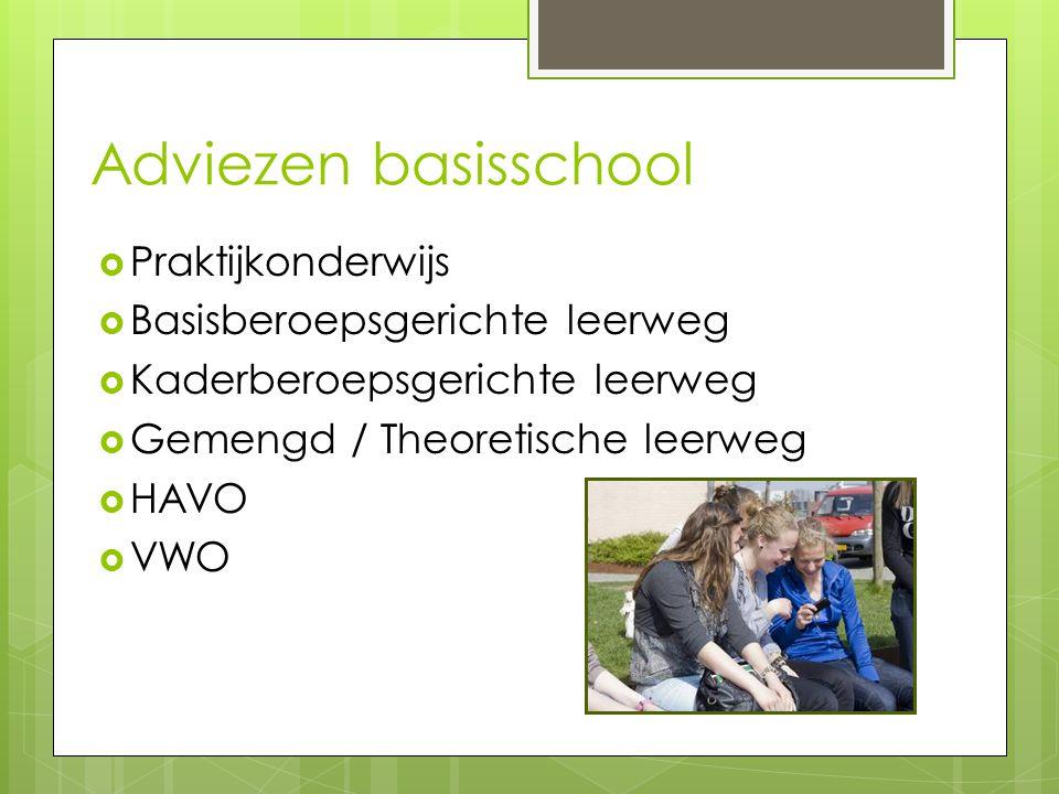 Adviezen basisschool Praktijkonderwijs Basisberoepsgerichte leerweg