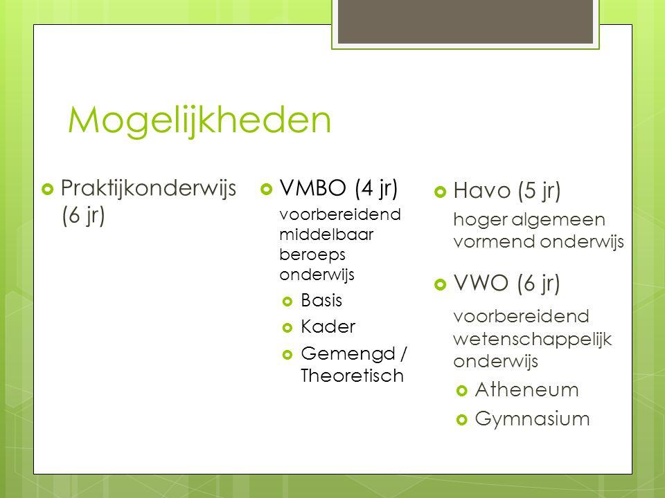 Mogelijkheden Praktijkonderwijs (6 jr) VMBO (4 jr) Havo (5 jr)