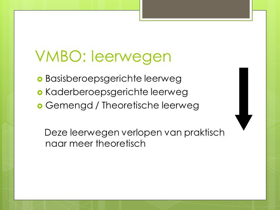 VMBO: leerwegen Basisberoepsgerichte leerweg