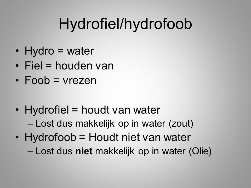 Hydrofiel/hydrofoob Hydro = water Fiel = houden van Foob = vrezen