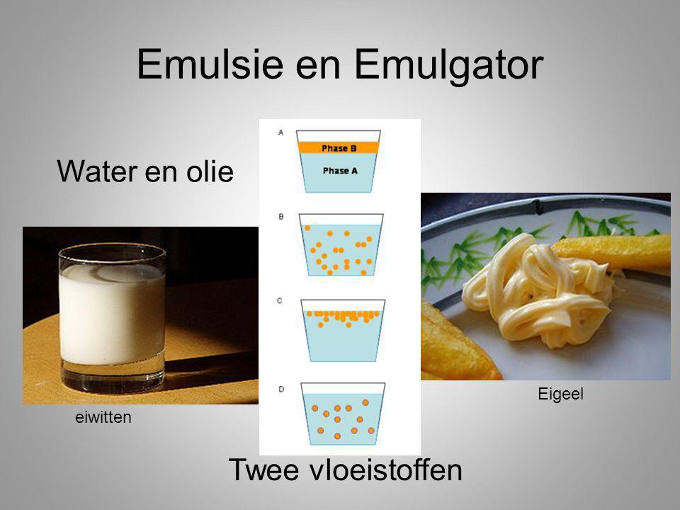 Emulsie en Emulgator Water en olie Eigeel eiwitten Twee vloeistoffen