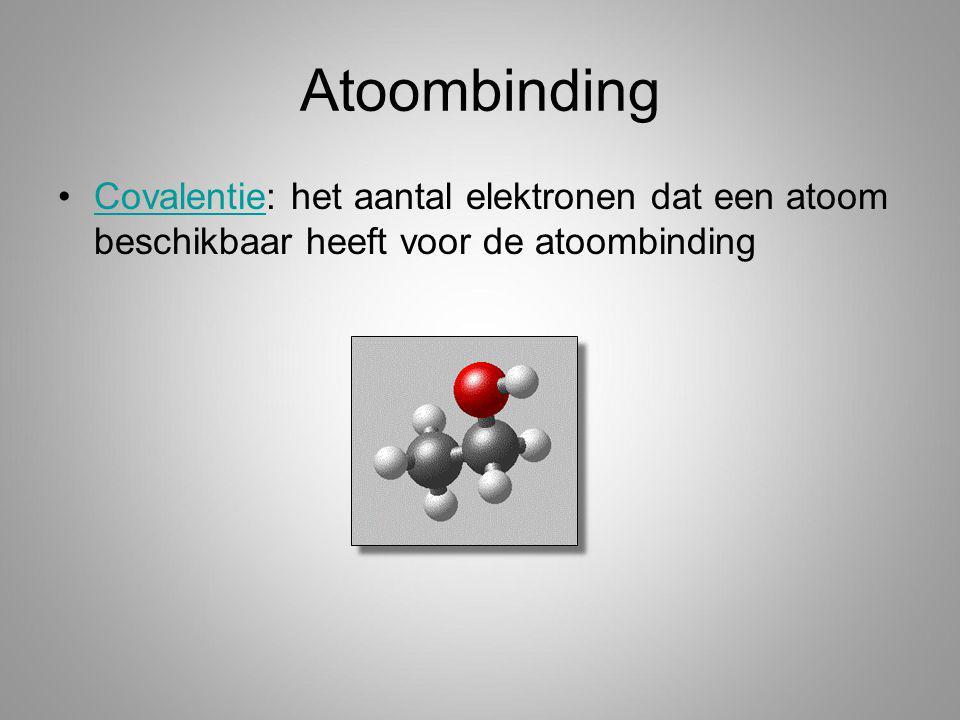 Atoombinding Covalentie: het aantal elektronen dat een atoom beschikbaar heeft voor de atoombinding