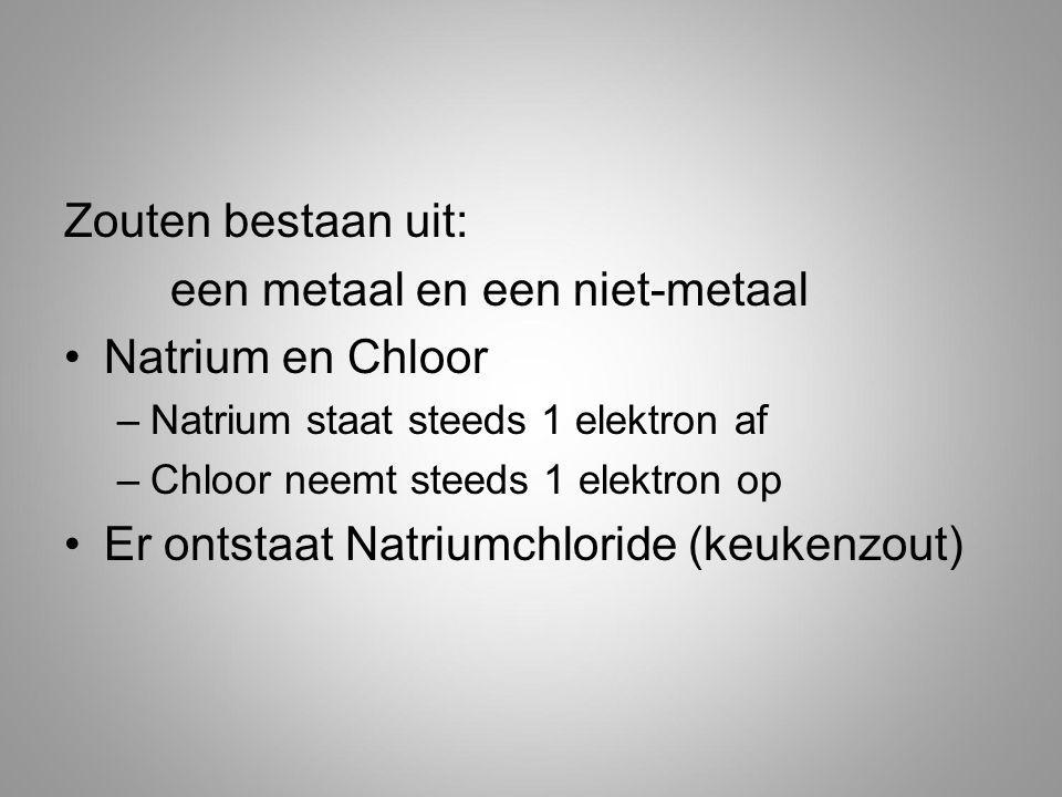 een metaal en een niet-metaal Natrium en Chloor