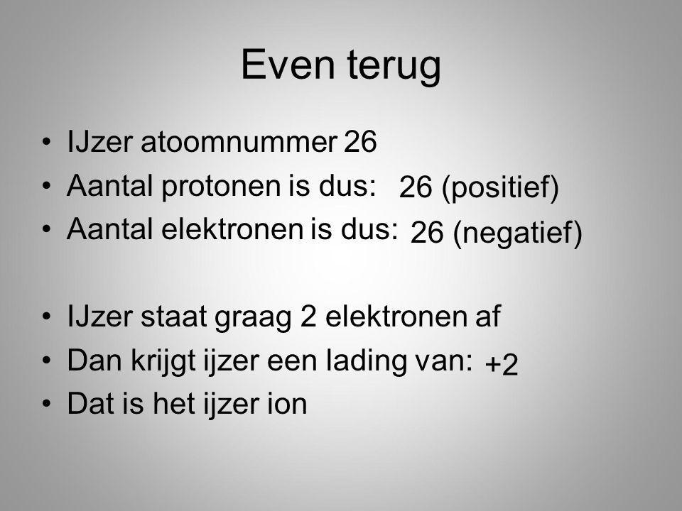 Even terug IJzer atoomnummer 26 Aantal protonen is dus: