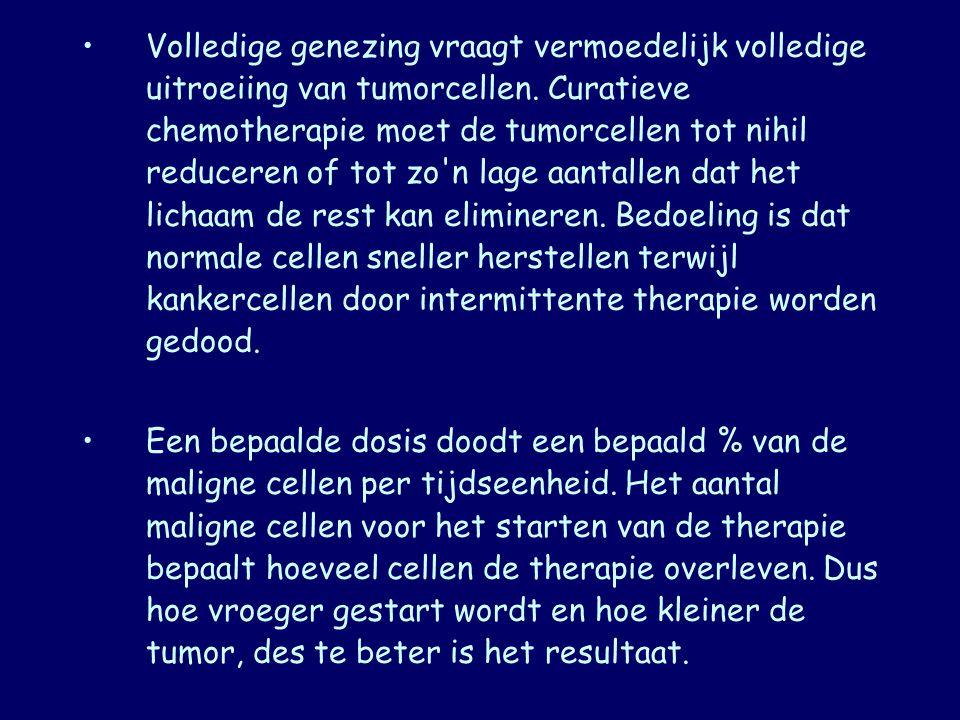 Volledige genezing vraagt vermoedelijk volledige uitroeiing van tumorcellen. Curatieve chemotherapie moet de tumorcellen tot nihil reduceren of tot zo n lage aantallen dat het lichaam de rest kan elimineren. Bedoeling is dat normale cellen sneller herstellen terwijl kankercellen door intermittente therapie worden gedood.