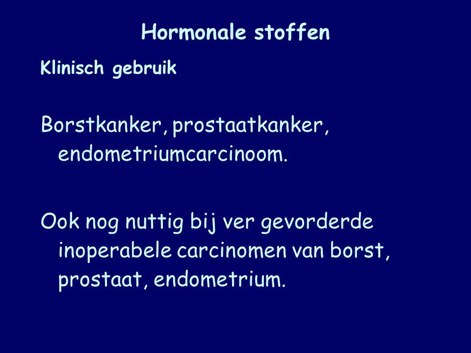 Borstkanker, prostaatkanker, endometriumcarcinoom.