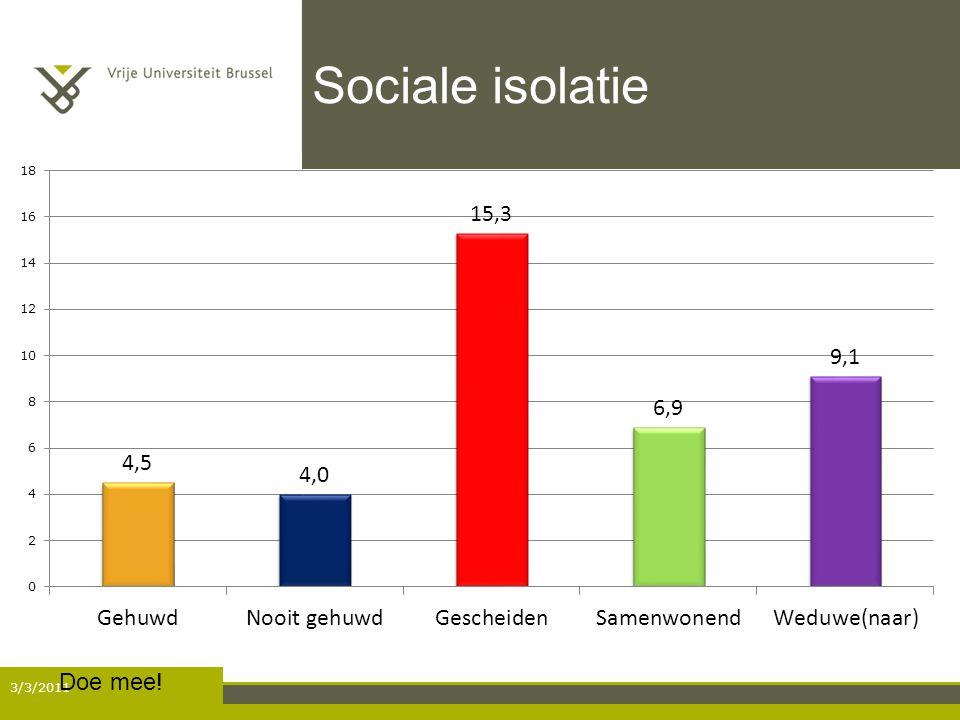 Sociale isolatie Doe mee! 3/3/2011