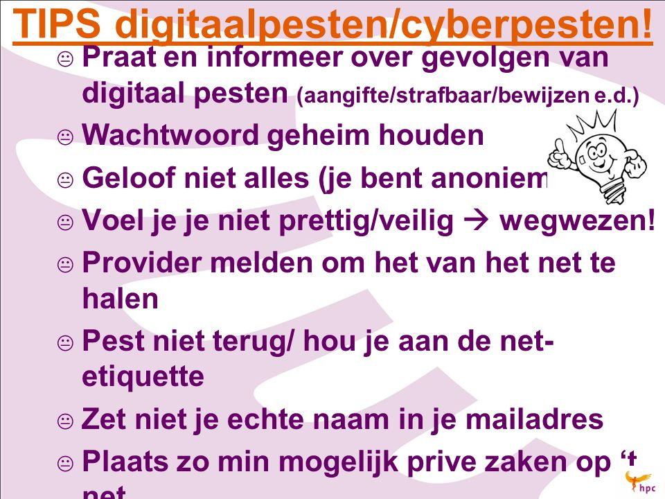 TIPS digitaalpesten/cyberpesten!