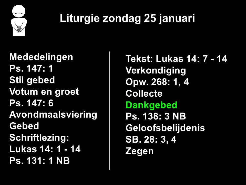 Liturgie zondag 25 januari