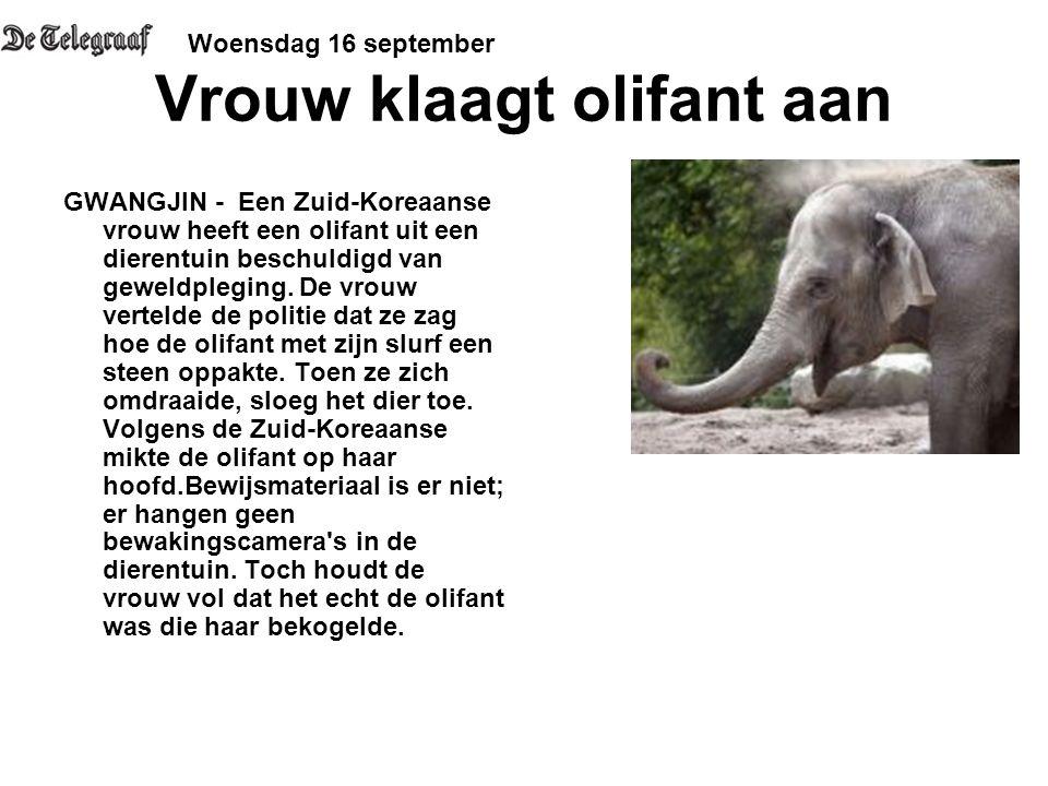 Vrouw klaagt olifant aan