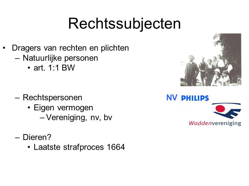 Rechtssubjecten Dragers van rechten en plichten Natuurlijke personen