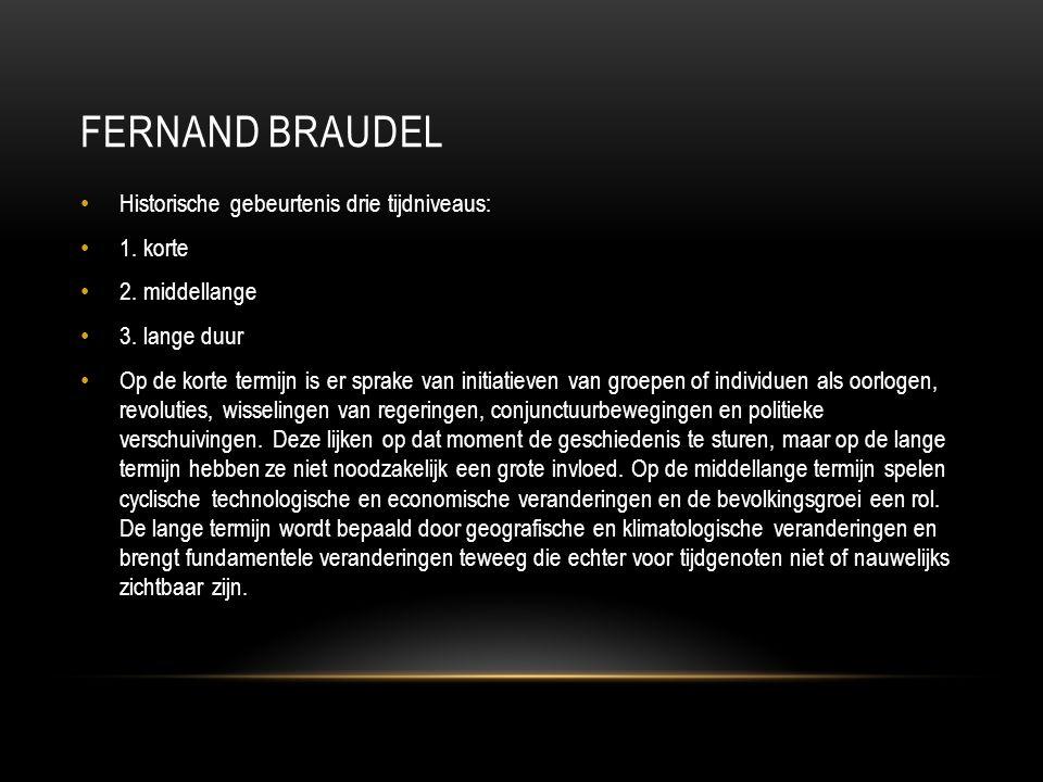 Fernand Braudel Historische gebeurtenis drie tijdniveaus: 1. korte