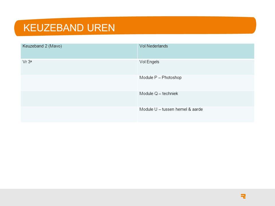 KEUZEBAND UREN Keuzeband 2 (Mavo) Vol Nederlands Vr 3e Vol Engels