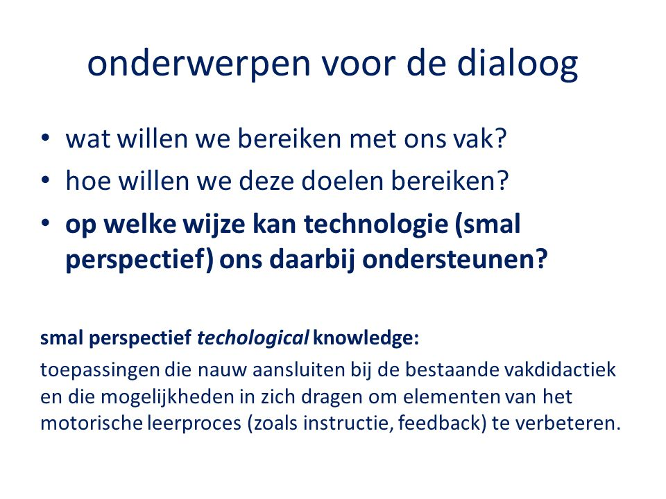 onderwerpen voor de dialoog