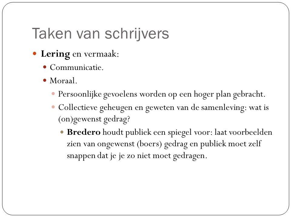Taken van schrijvers Lering en vermaak: Communicatie. Moraal.