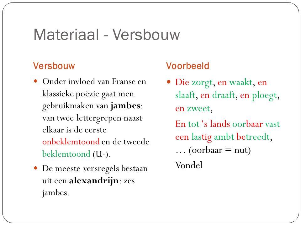 Materiaal - Versbouw Versbouw. Voorbeeld.