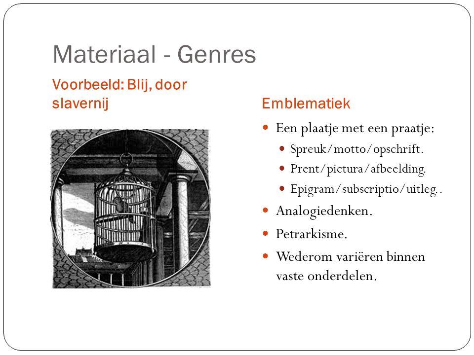 Materiaal - Genres Voorbeeld: Blij, door slavernij Emblematiek