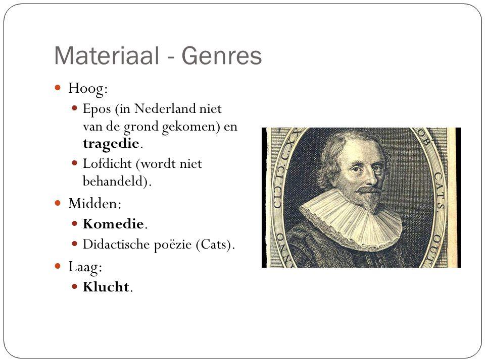 Materiaal - Genres Hoog: Midden: Laag: