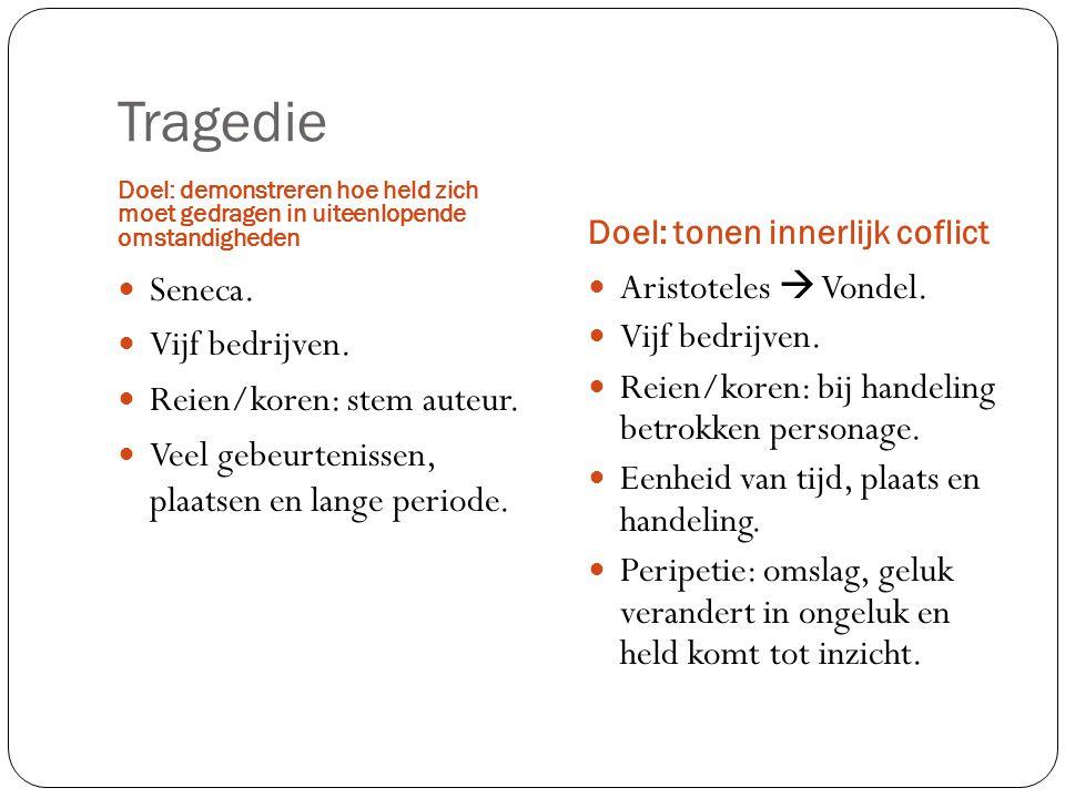 Tragedie Seneca. Vijf bedrijven. Reien/koren: stem auteur.