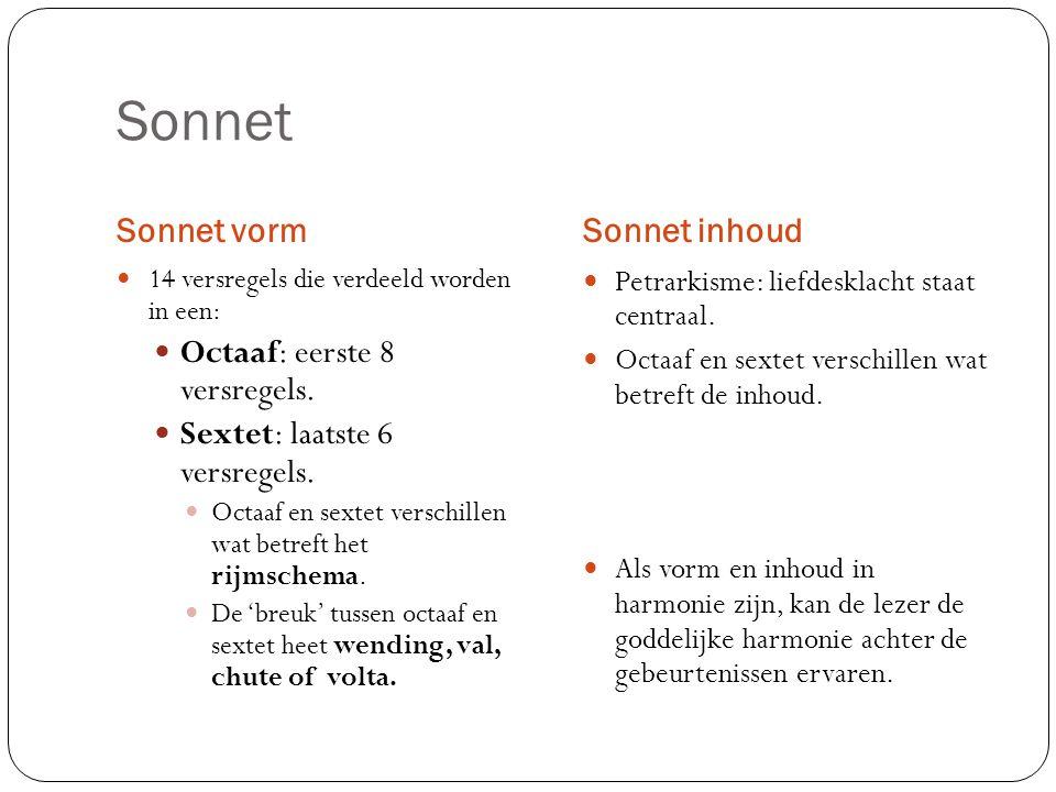 Sonnet Sonnet vorm Sonnet inhoud Octaaf: eerste 8 versregels.