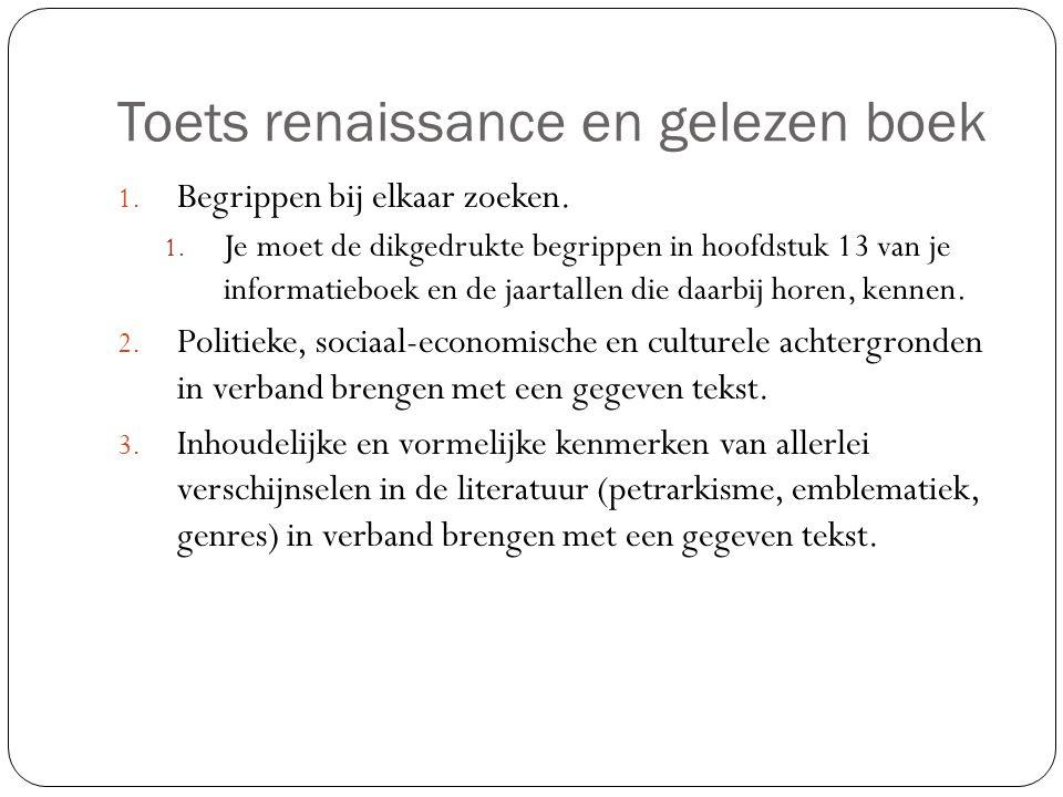 Toets renaissance en gelezen boek