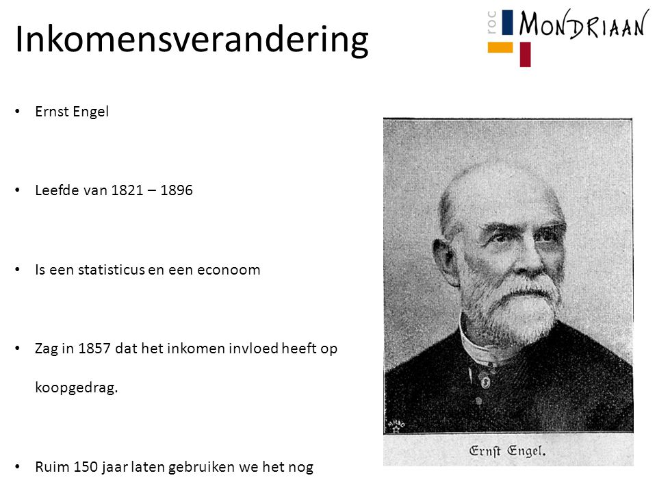 Inkomensverandering Ernst Engel Leefde van 1821 – 1896
