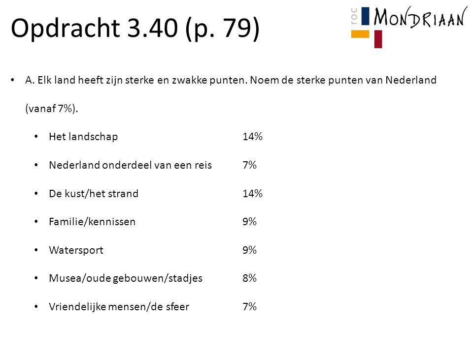 Opdracht 3.40 (p. 79) A. Elk land heeft zijn sterke en zwakke punten. Noem de sterke punten van Nederland (vanaf 7%).