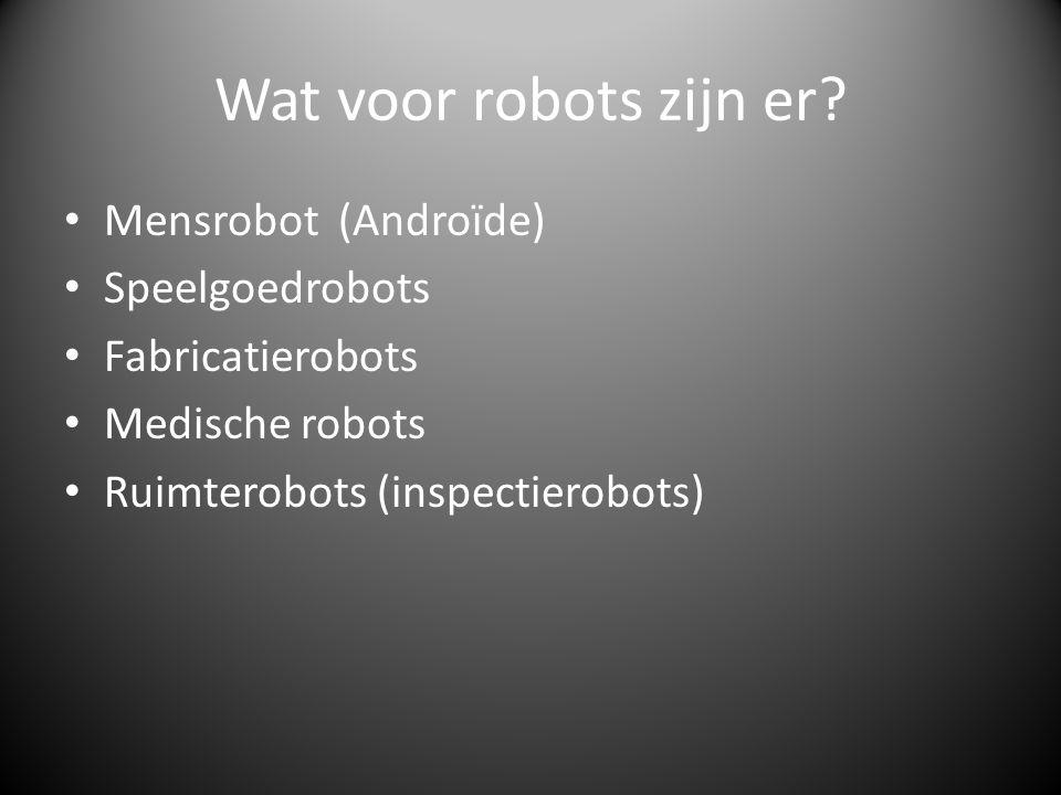 Wat voor robots zijn er Mensrobot (Androïde) Speelgoedrobots