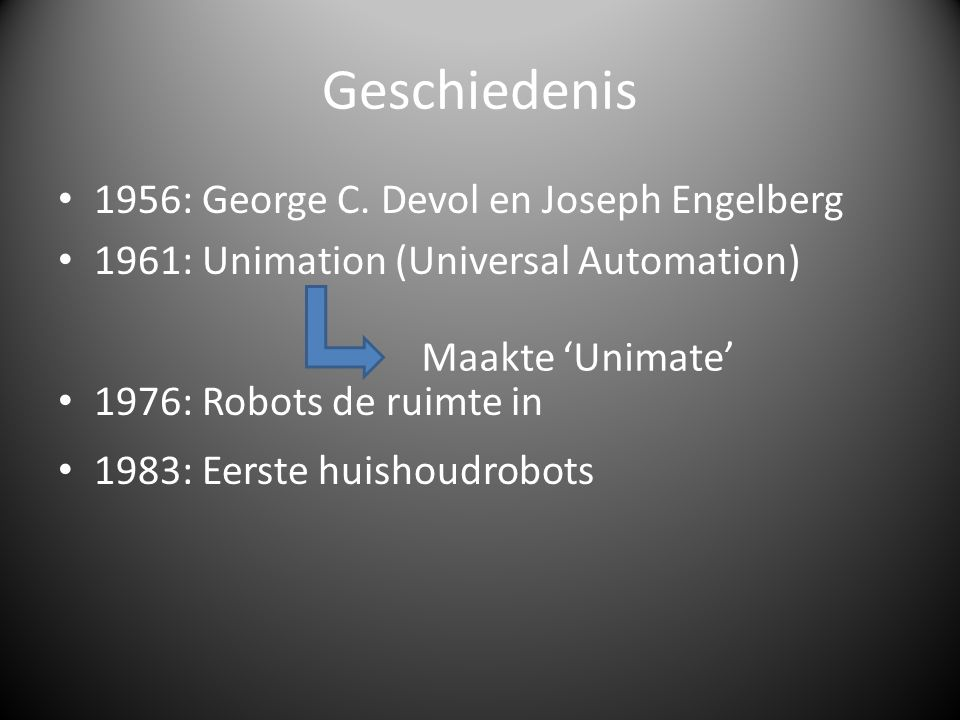 Geschiedenis 1956: George C. Devol en Joseph Engelberg