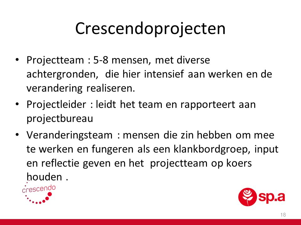 Crescendoprojecten Projectteam : 5-8 mensen, met diverse achtergronden, die hier intensief aan werken en de verandering realiseren.