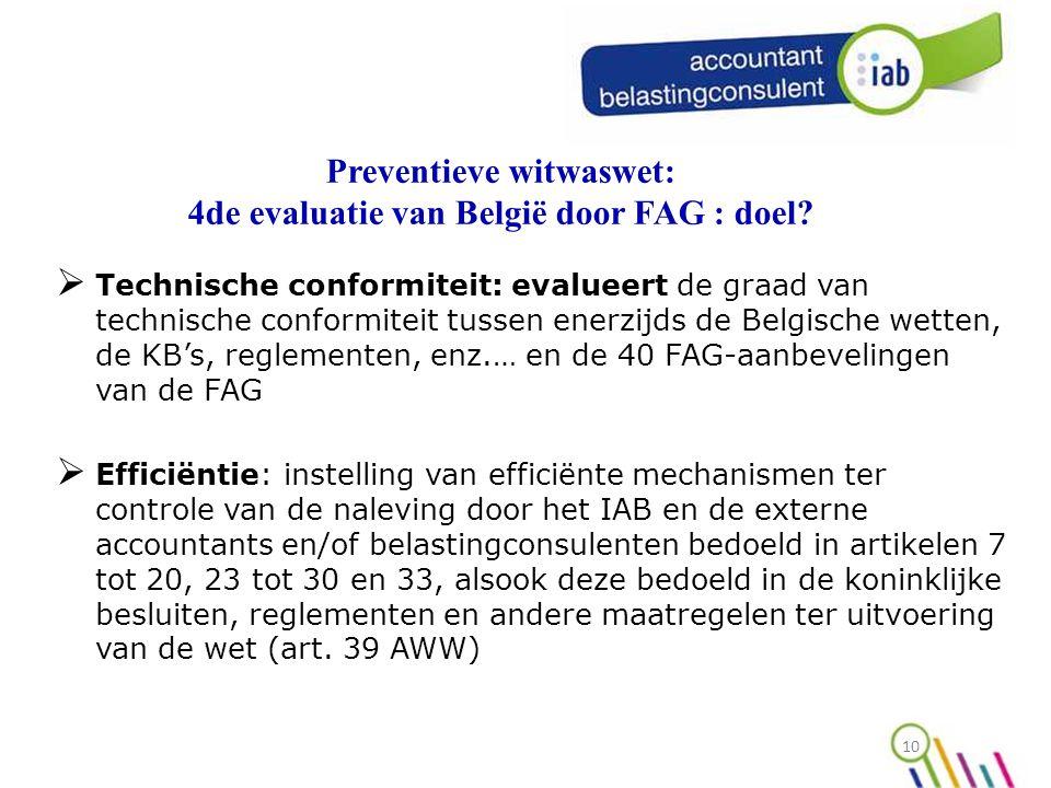 Preventieve witwaswet: 4de evaluatie van België door FAG : doel
